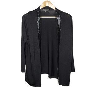 Jones New York Black Beaded Open Cardigan Sweater